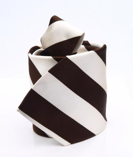 Shirt Striped brown & ivory tie - silk The Shirt Factory