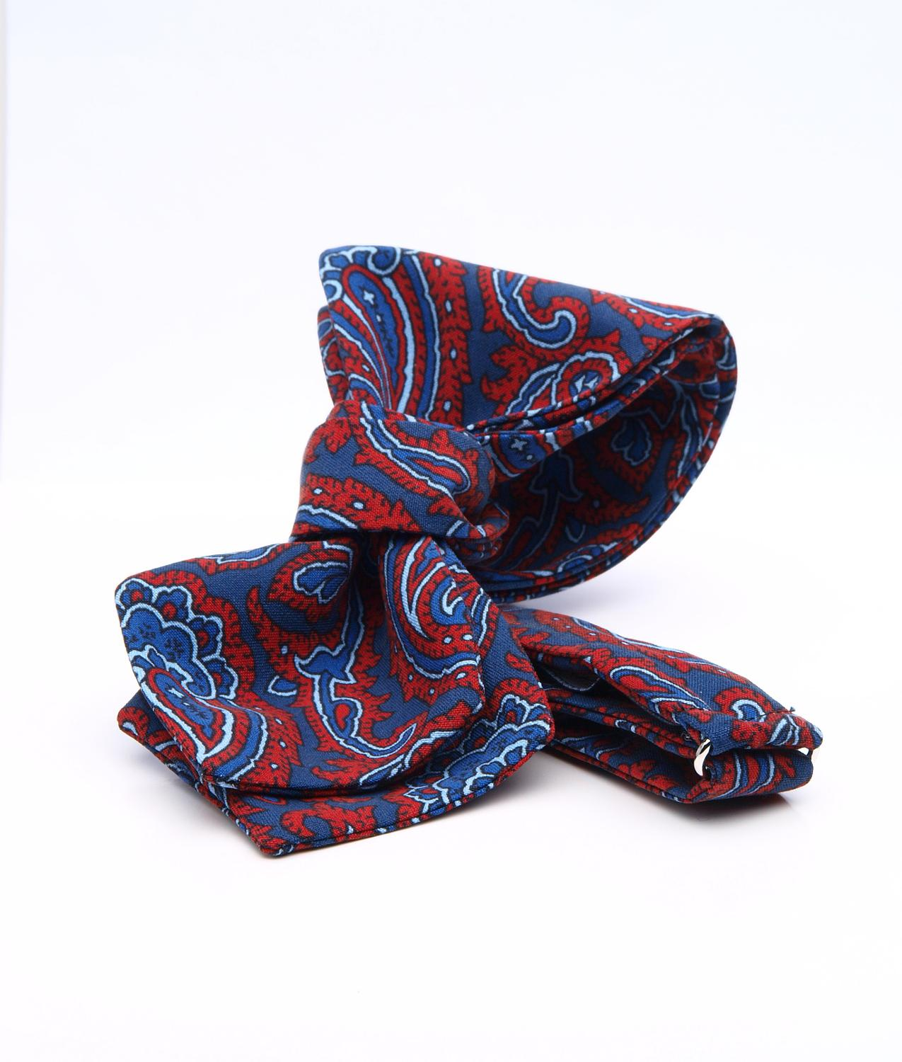 Shirt Navy & red paisley bow tie - silk The Shirt Factory