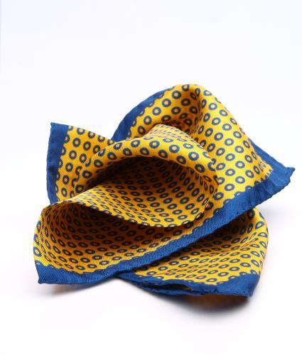Shirt Yellow & blue pocket square - silk The Shirt Factory