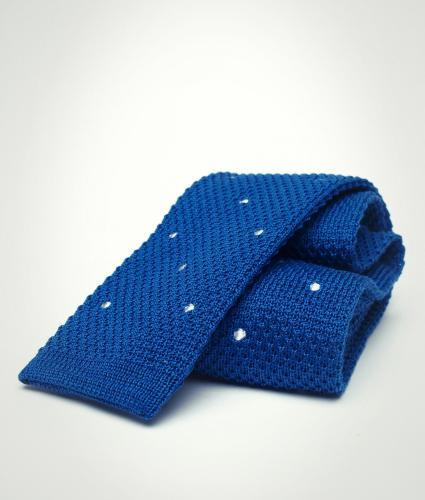Shirt Dotted blue knitted cotton tie The Shirt Factory