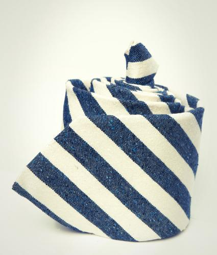 Shirt Blue & white striped cotton and silk blend tie The Shirt Factory