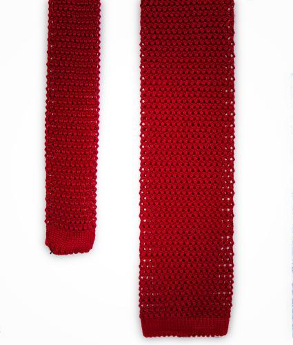 Shirt Red solid colour knitted tie - silk The Shirt Factory