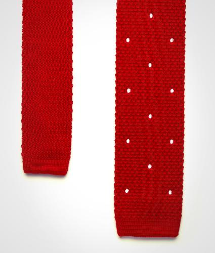 Shirt Dotted red knitted cotton tie  The Shirt Factory